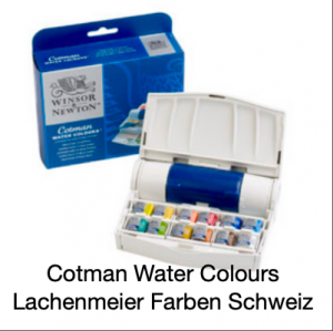 Winsor&Newton Cotman Aquarell Set Pocket Box plus(12 Näpfe 1/2 + Taschenpinsel)