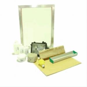 Siebdruck Set 2 Starter Set Textil komplett: Lampe, Rahmen, Emulsion, Rinne, Rakel + Zubehör