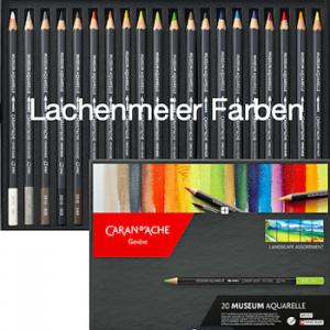 Caran d'Ache Artist Museum Aquarell Set 20 Farben Landschaft und Zubehör