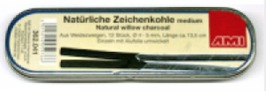 Zeichenkohle natürlich, medium 4-5mm ca.13.5cm Set 12  Metallschachtel