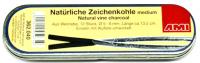 Zeichenkohle natürlich, medium 5-6mm ca.13.5cm Set 12  Metallschachtel, Rebenholz