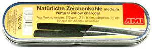 Zeichenkohle natürlich, medium 7-8mm ca.13.5cm Set 5  Metallschachtel, Weidenholz
