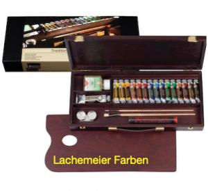 Talens Rembrandt Oil colour Paint Traditional Wood Box Set, 15x15ml Tubes + 1x40ml Tube + 8 Accessories