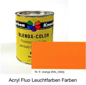 Blenda-Color Acryl Fluo B WL-9 Orange UV reflektierende Leuchtfarbe