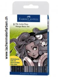 Faber-Castell Pitt Artist Pen Set Manga  8 Farben Basis