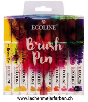 Talens Ecoline BrushPen Set 20 Stifte Transparente Wasserfarbe im Pinselstift
