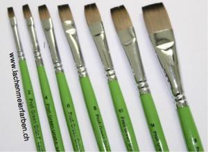 Profi Green Grün F Künstlerpinsel Set Flach 7 Pinsel Nr 2 - 18 Stiel Grün Kunsthaar hell weich Pinselset