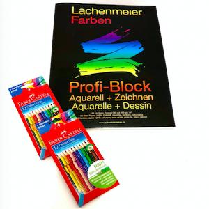 Set Nr 1: Profi Block + 2 Set Faber Color Grip Farbstifte Familienset: Starterset zum sofort malen!
