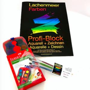 Set Nr 3: Profi Block A3 + Deckfarben Set 12 Farben + Pinselset mit 3 Pinseln: Starterset zum sofort zeichnen!