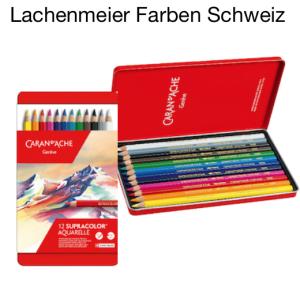 Caran d'Ache Farbstifte Supracolor Aquarell soft Set Metallschachtel 12 Farben