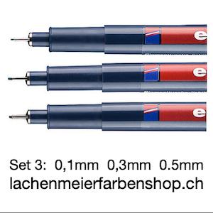 Edding 1800/E3 Profipen Set à 3 Schwarz 01,03,05 mm