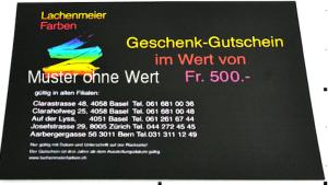 Geschenk Gutschein Fr. 500.00