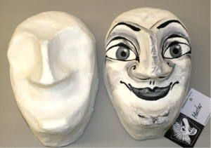 Fasnacht Larven: Harlekinmaske: Rohmaske gross zum bemalen