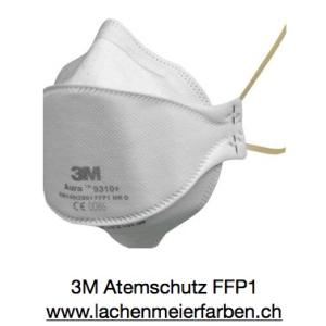 3M Atemschutz Maske Feinstaubmaske FFP1 9310+ Aura Gelbes Band, gefaltet, Packung 20 Stück