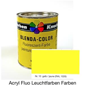 Blenda-Color Acryl Fluo WL-10 Gelb UV reflektierende Leuchtfarbe