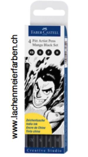 Faber-Castell Manga Set Pitt Artist Pen Schwarz 4 Spitzen Black XS = 0,1mm, S 0 0,3mm, F = 0,5mm, B = Pinselspitze