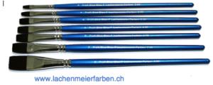 Profi Blue Blau F Künstlerpinsel Set Flach 7 Pinsel Nr 2 - 16 Stiel Blau Kunsthaar Sepia