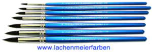 Profi Blue Blau R Künstlerpinsel Rund Set 7 Pinsel Nr 2 - 18 Stiel Blau Kunsthaar Sepia