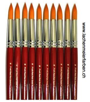Profi Red Rot Gold R Künstlerpinsel Rund 16 Set 10 Pinsel Stiel Rot Kunsthaar Orange weich