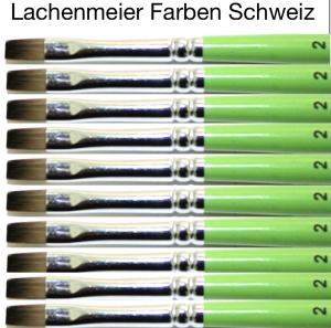 Profi Green Grün F Künstlerpinsel Flach 02 Set 10 Pinsel Stiel Grün Kunsthaar Hell Weich