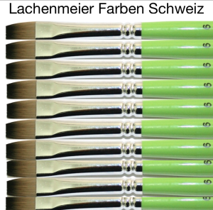 Profi Green Grün F Künstlerpinsel Flach 06 Set 10 Pinsel Stiel Grün Kunsthaar hell weich