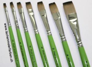 Profi Green Grün F Künstlerpinsel Set Flach 7 Pinsel Nr 2 - 18 Stiel Grün Kunsthaar hell weich