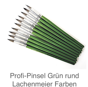 Profi Green Grün R Künstlerpinsel Rund 10 Set 10 Pinsel Stiel Grün Kunsthaar hell weich