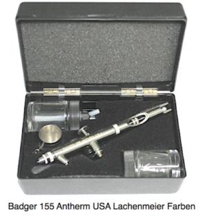Badger Airbrushpistole 155-1 Anthem Saugbecher, Düse 0,77 Kunststoffkoffer, inkl 22ml Glas + Farbnapf