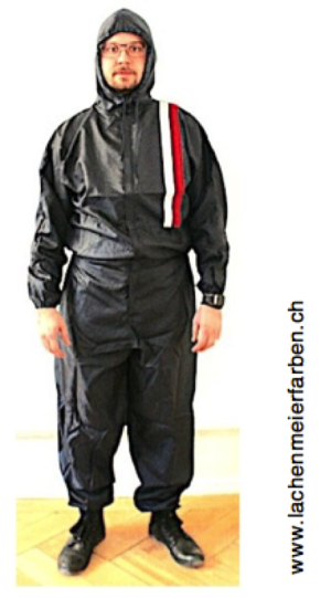 Lackieranzug Overall Blau Polyester Grösse L mit Kapuze