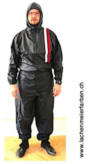Lackieranzug Overall Blau Polyester Grösse M mit Kapuze