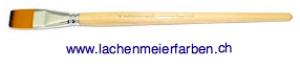 Profi Soft Oel + Acryl F Künstlerpinsel Flach 24 Set 5 Pinsel Stiel Holz roh