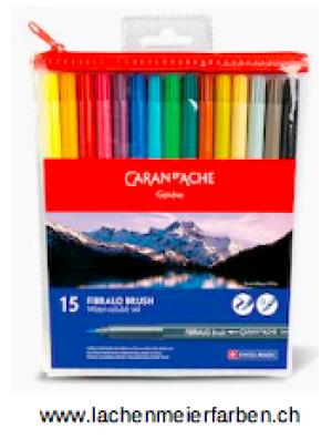 Caran d'Ache Classic Fibralo Brush Set mit 15 Farben