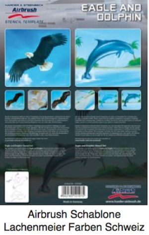 Airbrush Schablone Step-by-step ca. A4 Tiere Adler + Delphin