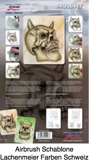 Airbrush Schablone Step-by-step ca. A4 Schädel Skull Set
