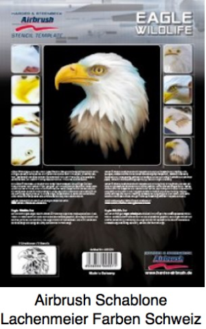 Airbrush Schablone Step-by-step ca. A4 Tiere Wildlife Adler Eagle