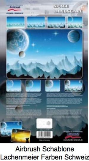 Airbrush Schablone Step-by-step ca. A4 Space Landscape / Weltraum Landschaft