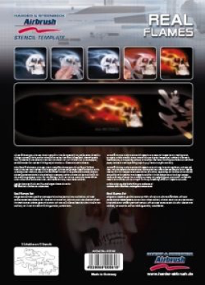 Airbrush Schablone Step-by-step ca. A4 Flammen / Real Flames
