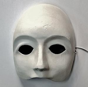 Fasnacht Larven: Venezianer Maske Weiss grundiert Innen, Kunststoff, Pfeiferlarve