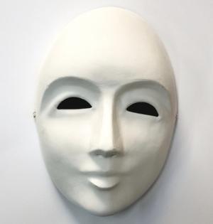 Fasnacht Larven: Venezianer Maske Weiss grundiert Innen, Kunststoff