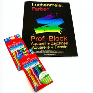 Set Nr 1: Profi Block + 2 Set Faber Color Grip Farbstifte Familienset: Starterset zum sofort malen!
