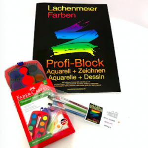 Set Nr 3: Profi Block A3 + Deckfarben Set 12 Farben + Pinselset mit 3 Pinseln: Starterset zum sofort malen!