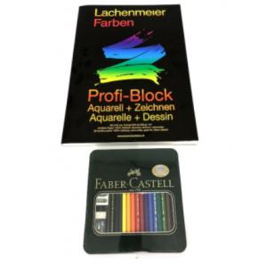 Set Nr 5: Künstlerfarbstift Polychromos + Profi Block: Starter sets: Paint or draw immediately