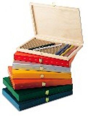 Malkasten leer,  Holzkoffer 278x203x28 mm für Bleistifte und Farbstifte