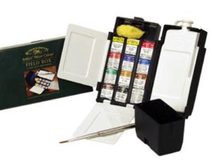 Winsor&Newton Aquarell Set Kunststoff Field Box 12 x 1/2 Näpfchen
